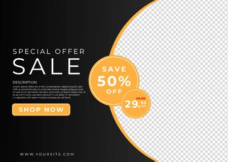 Special sale banner color black background shoping design with space for picture. vector illustration.  イラスト・ベクター素材