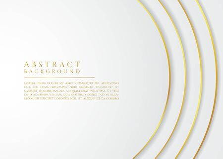 Luxury circle wave shape design white and gold metrallic color style with space for content. vector illustration.