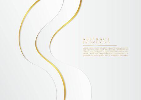 Fluid wave flow shape design overlap layer white and gold luxury concept. vector illustration.