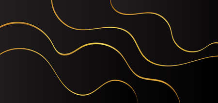Luxury back fluid wave design abstract curve shape gold metallic style. vector illustration. Иллюстрация