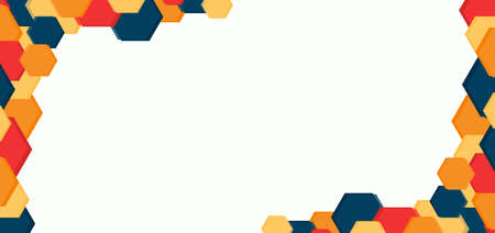 Hexagon shape overlap layer colorful corner position with space for content. vector illustration.
