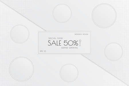 White minimal sale design circle shape overlap layer halftone style. vector illustration.