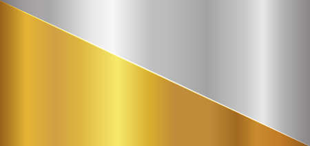Gold and silver metallic divided background luxury concept. vector illustration. Иллюстрация