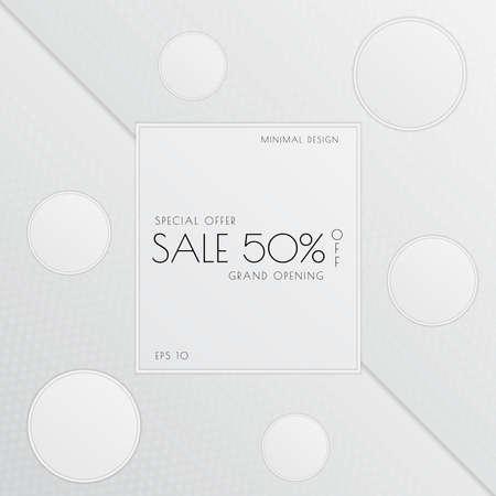 Sale minimal banner circle frame for showcase design white color style. vector illustration.
