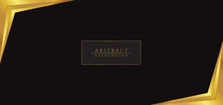 Abstract overlap pattern background black color and gold frame corner design. vector illustration.