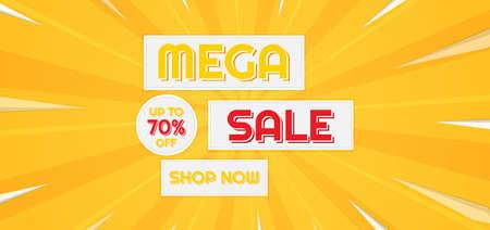 Mega sale banner modern zoom style yellow background design. vector illustration.