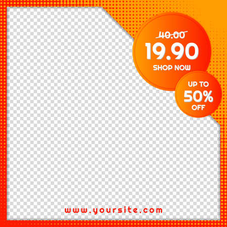 Sale banner hot price design halftone color frame style with space for image. vector illustration. Иллюстрация