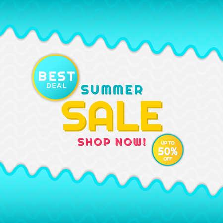Summer sale banner sea wave concept design. vector illustration.