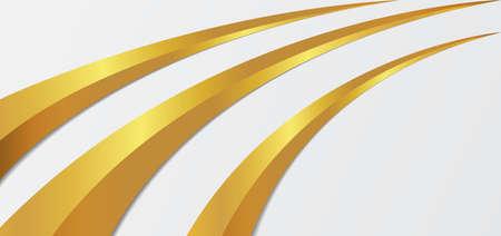 Luxury gold metallic line curve overlap layer design white background. vector illustration.