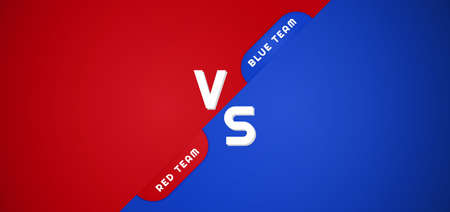 Battle background red and blue versus team overlap layer design. vector illustration.