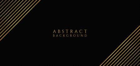 Luxury gold overlap background black color line frame corner. vector illustration.