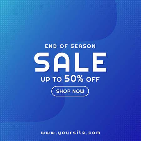 Sale banner modern fluid design blue background halftone style. vector illustration. Иллюстрация