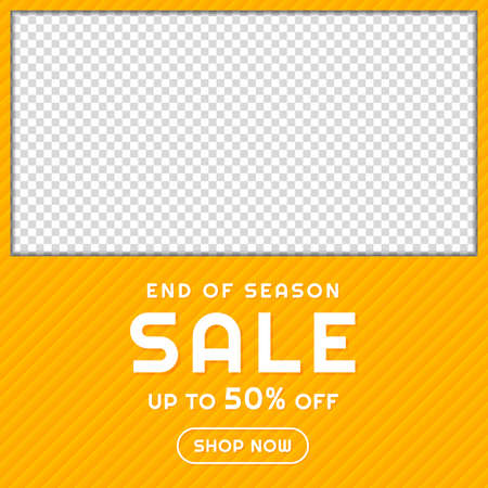 Sale banner frame design yellow pattern background with space. vector illustration.