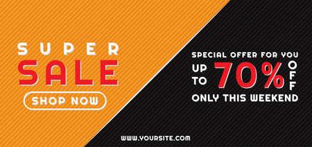 Super sale full banner modern half background design yellow and black color. vector illustration.