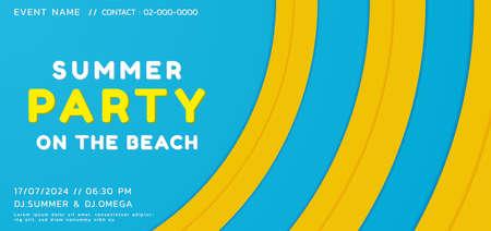 Summer party music concept circle wave overlap shape desgin colorful bright. vector illustration.