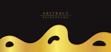 Fluid wave flow shape luxury gold design with pattern black background. vector illustration.