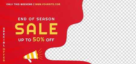 Sale banner red background promotion announce design with product image space. vector illustration.
