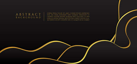 Fluid luxury black curve design with space for content. vector illustration. Иллюстрация
