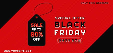 Black friday sale concept red overlap pattern background discount tag design. vector illustration.