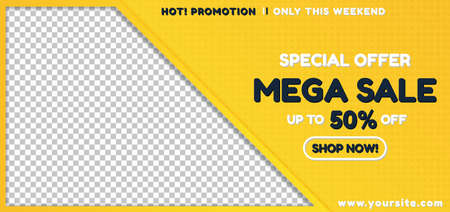 Sale banner yellow color square pattern background with frame image product. vector illustration.