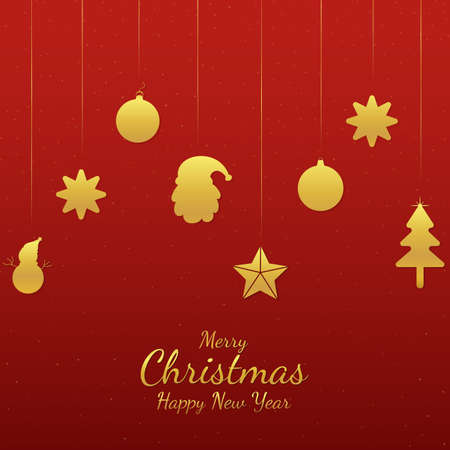 Christmas banner flat and minimal design gold element style. vector illustration.