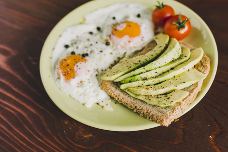 Plate of fried eggs, cherry-tomatoes and avocado on a toast