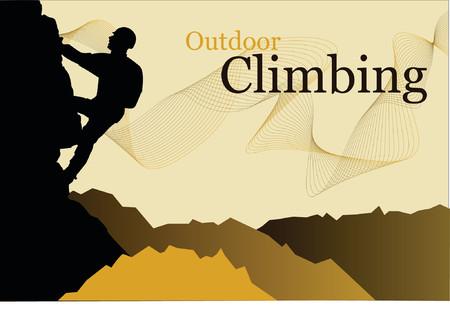 climbing wall: Outdoor climbing - vector silhouette of a climber Illustration
