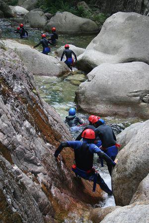 adrenalin: Adrenalin sport - Canyoning Stock Photo