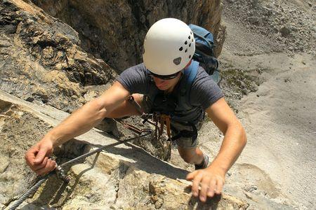 Climber with helmet photo