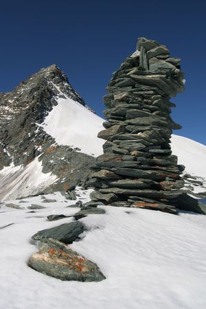 Stone man in the Alps photo