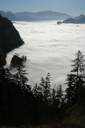 inversion: Mountain inversion Stock Photo