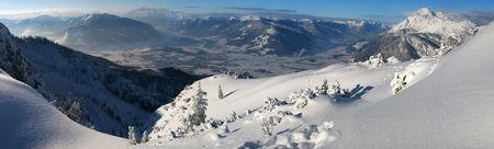 saalfelden: Winter mountain panorama Stock Photo