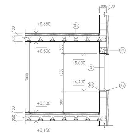 civil construction: Construction drawing, window detail
