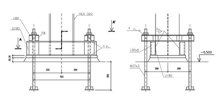 Construction drawing, steel column anchoring photo