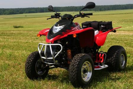 quad: Red quad bike (ATV)  on green field.  Stock Photo