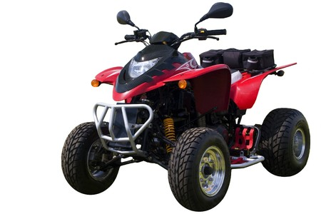 Red quad bike (ATV)  isolated on white photo