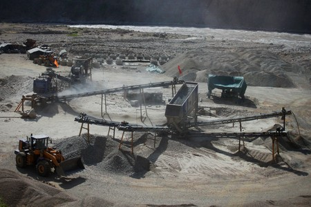 Mining concept. Gravel pit with various machinery Stock Photo - 8030734