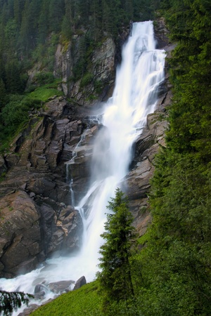 austrian: Famous Krimml waterfall in Austrian Alps Stock Photo