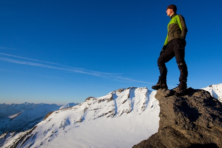 mountaineering: Young man in the mountains