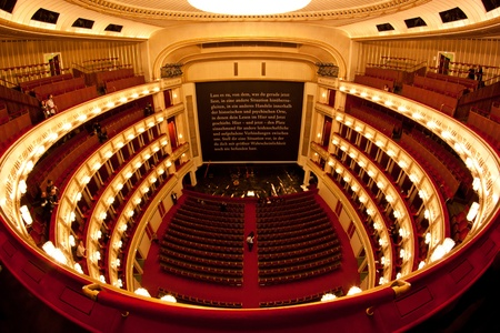 concert hall: Interior of Vienna opera (Staatsoper). Fisheye view.