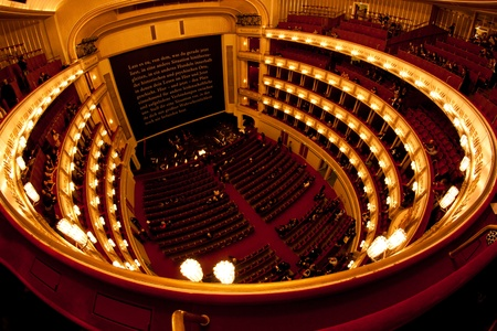 Interior of Vienna opera (Staatsoper). Fisheye view.