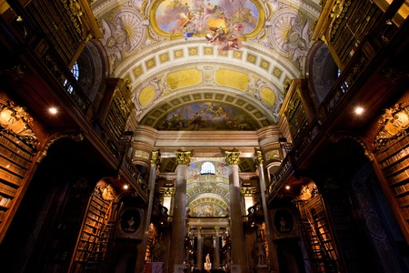 ancient books: Interior of National library (Nationalsbibliothek) in Vienna, Austria Editorial