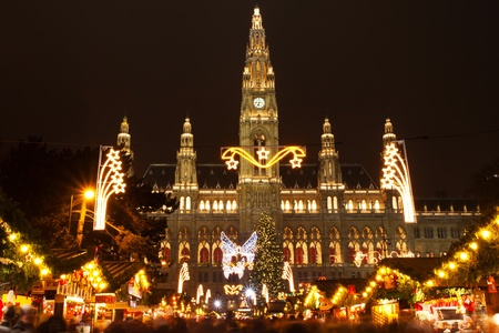 Christmas market in front of Rathaus, Vienna, Austria