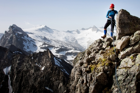 Woman climber in summer Austrian Alps photo