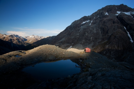 bivouac: Alpine hut in New Zealand Southern Alps