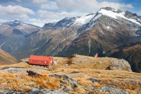 bivouac: Alpine hut in New Zealand Alps