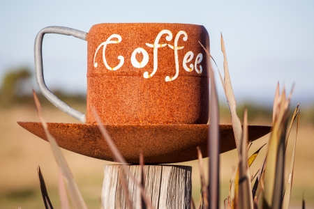 consummation: Enormous cup of coffee, concept of high coffee consummation Stock Photo