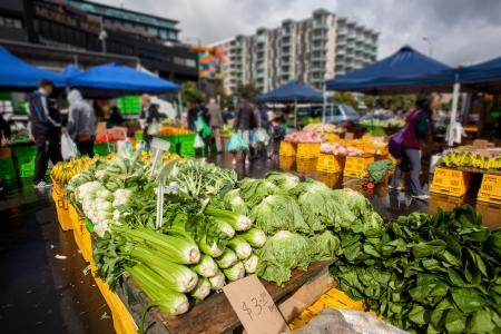 farmers market: Farmers market with vegatables in Wellington, New Zealand Editorial