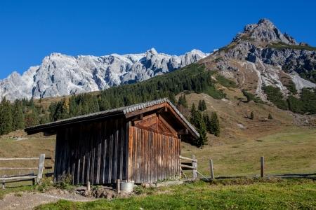 hayloft: T�pico paisaje alpino con pajar en el primer plano