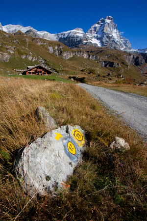 Hiking trail under the Matterhorn (Monte Cervino) from the south (Italian) side. photo
